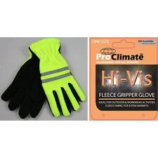 NEW HI VIZ VIS VISIBILITY FLEECE GRIPPER GLOVES WITH SCOTCHLITE REFLECTIVE STRIP