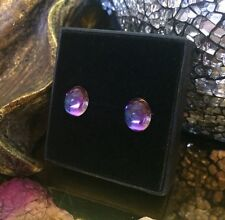 Genuine vintage Purple & Blue two-toned Harlequin art glass stud earrings ��