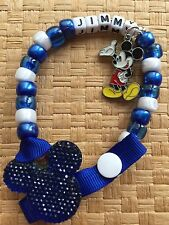 Personalised Disney Blue Sparkly Minnie Dummy Clip/ holder  WITH MICkEY CHARM