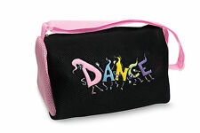 "Girl's Black ""Dancing Feet"" Mesh Duffle Dance Bag w/ Pink Dansbagz"