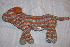 Knit BLA BLA KIDS PUPPY DOG  RATTLE BlaBla Plush Orange Gray Striped Grey Stripe