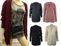 New Womens Cable Knitted Grandad Diamond Boyfriend Ladies Button Chunky Cardigan