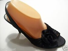 Nine West Juliarae Black Satin Slingback Peep Toe Sandals Heels Shoes Size 9.5