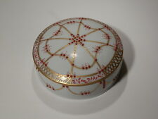 "STUNNING 5 1/2"" ROUND HAND PAINTED RAISED ENAMELING POWDER BOX SIGNED LOOK"