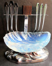 RARE French sauceboat opalescent glass Verlys + 6 oysters forks chromed metal