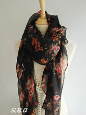 Stunning Black Red Orange Floral Print Pashmina Scarf Sarong Hijab Beach Wrap