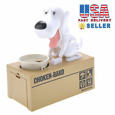 Cute Choken Bako Hungry Dog Eating Automatic Coin Piggy Bank Money Box White