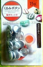 "DIY 22mm (0.9"") Fabric Covered Button Kit + 15 Buttons, PUSHER TOOL INCLUDED!"
