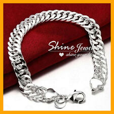 925 Sterling Silver 10MM Solid DOUBLE CURB CHAIN MEN GIFT Chunky Bracelet Bangle
