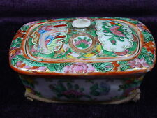 Antique Chinese export porcelain rose medallion soap box