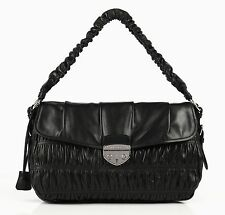 PRADA NAPPA GAUFRE BLACK GATHERED LEATHER SATCHEL SHOULDER HANDBAG BAG PURSE
