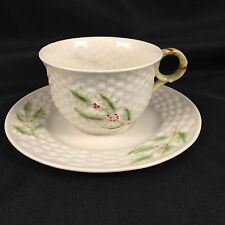 BELLEEK ENCHANTED HOLLY CUP AND SAUCER 9TH BLUE MARK IRISH IRELAND BASKET WEAVE