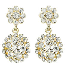 NWT Amrita Singh Gold Crystal Agatha Statement Earrings ERC 2603