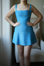 HERVE LEGER FAITH BLUE BANDAGE DRESS SMALL