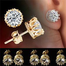 Gold Plated Stud Crown Round Crystal Earrings 6mm CZ Cubic Zirconia Silver NEWLY