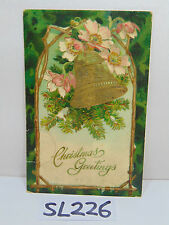 VINTAGE POSTCARD POSTED STAMP 1910 CHRISTMAS GREETINGS GOLD BELL MASONIC GERMAN