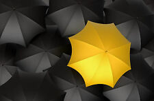 Framed Print - Bright Yellow Umbrella in a Sea of Darkness (Picture Poster Art)