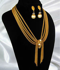 Vintage Hobe 5 Strand Gold Plated Chain Mesh Pearl Necklace Dangle Clip Earrings