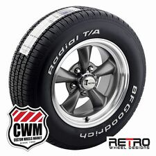 15 inch Retro Wheel Designs Staggered Gray Rims Tires for Olds Cutlass 82-88