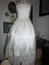 Vtg GUNNE SAX Jessica McClintock Strapless Satin Corset Party Wedding Dress Gown