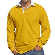 Rugby Shirt Front Row Mens Plain Long Sleeve New 100% Cotton FR1