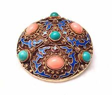Antique Chinese Sterling Gilt Enamel Turquoise Angel Skin Coral Brooch Pin- WOW