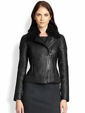 NWT $1598 Elie Tahari Mae Ribbed Black Moto Leather Jacket With Fur Collar Sz XL