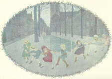 Girls Boys Skip Play Night Willebeek Le Mair Original Antique Art Print Matted
