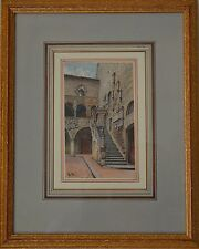 Fine 19th Century Bargelio Courtyard Florence Watercolour Signed with Initials