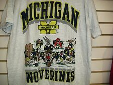 Michigan Wolverines shirt Vintage 90s Looney Tunes sz. Large NCAA gray BRAND NEW
