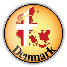 Denmark Map Flag Label Car Bumper Sticker Decal 5'' x 5''