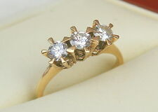 Exceptional quality trilogy.75ct diamond ring starlight setting Sz O 18ct  y/g