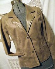 FANTASTIC Armani Collezioni Womens Leather Jacket Blazer M Italy Taupe/Camel