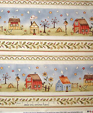 Primitive Barn Country House Stripe Cotton Fabric Red Rooster Sew Nice YARD