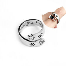 Silver Dog Paws Print Heart I Love You Forever Wedding Party Women Jewelry Rings