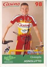CYCLISME carte cycliste CHRISTOPHE AGNOLUTTO équipe CASINO 98 signée