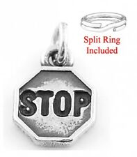 """STERLING SILVER  """"STOP SIGN"""" CHARM WITH SPLIT RING"""