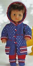 "#67 DK Doll's Prem Girl H12-22"" Hooded Coat, Pants & Shoe Vint Knitting Pattern"