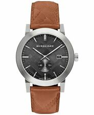 NEW MENS BURBERRY (BU9905) THE CITY BROWN LEATHER STRAP SILVER TONE WATCH