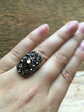 Stunning Vintage Style Rhinestone Dress Ring/Grey Crystal Statement/Cocktail