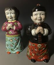Pair of Chinese 20th C Republic Famille Rose Porcelain Figurine Buddha vase boy