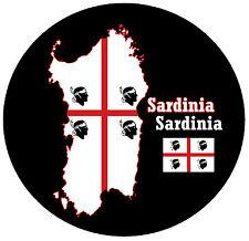 SARDINIEN - MAP / FLAGGE - RUND NEUHEIT SOUVENIR KÜHLSCHRANK-MAGNET - BRANDNEU