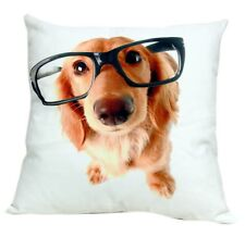 """Beautiful Dog with Big Glasses Print Cotton 18"""" X 18"""" Cushion Cover Pillow Sofa"""