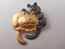 Vtg DANECRAFT Articulated Swinging Tail Cat Brooch Gold Tone Pewter