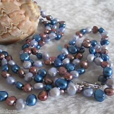 """52"""" 5-6mm Gray Reddish Blue Baroque Freshwater Pearl Necklace"""