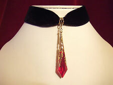 Necklace /Velvet choker with red pendant. Gothic. Medieval.Vampire. Very elegant