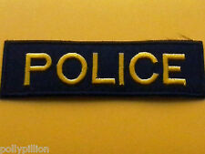 FANCY DRESS AMERICAN POLICE SEW ON / IRON ON PATCH:- POLICE BLACK & GOLD STRIPE