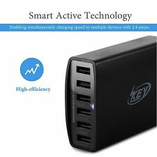 6 USB Ports Wall Charger Desktop Rapid 60 Watt Station for Phones, GoPro Camera