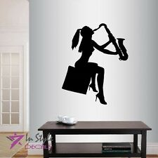 Vinyl Decal Nude Girl Woman Playing Saxophone Musician Model Wall Sticker 299