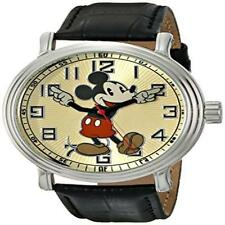 "Disney Mens 56109 ""Vintage Mickey Mouse"" Watch With Black Leather Band Black Cr"